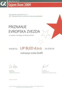 """Bild von 1. Preis """"der Europäische Stern 2009"""" für unseren Multifunktionsflügel und -zarge (Ahorn Grafit)."""