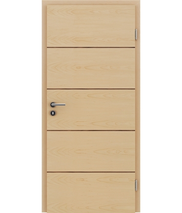 Furnierte Innentür mit einer Kombination aus längs- und/oder querverlaufenden Strukturen VIVACEline – F11 Ahorn Einlage Nussbaum