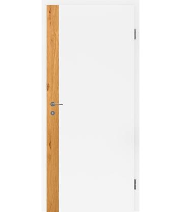 Weißlackierte Innentür mit Furniereinlage und Rillenfräsung BELLAline – F5R33L weißlackiert, Einlage Eiche astig
