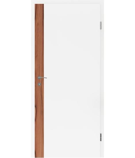 Weißlackierte Innentür mit Furniereinlage und Rillenfräsung BELLAline – F5R33L weißlackiert, Einlage indischer Apfelbaum