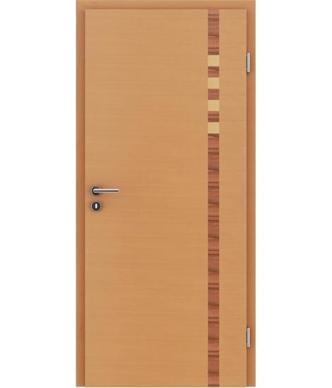 Furnierte Innentür mit Intarsieneinlagen HIGHline – I17 Buche, Intarsieneinlage indischer Apfelbaum und Ahorn