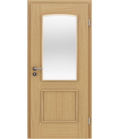 Furnierte Innentür mit dekorativen Leisten und Verglasung STILline – SOAD SO3 europäische Eiche