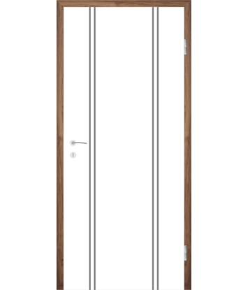 Bild von Weißlackierte Innentür mit Rillenfräsungen COLORline – MODENA R12L