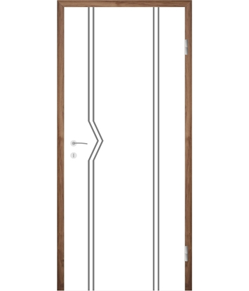 Weißlackierte Innentür mit Rillenfräsungen COLORline – MODENA R13L