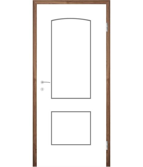 Weißlackierte Innentür mit Rillenfräsungen COLORline – MODENA R14L