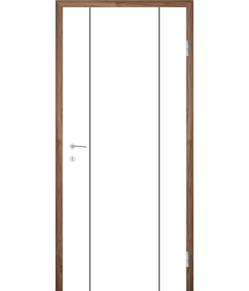 Bild von Weißlackierte Innentür mit Rillenfräsungen COLORline – MODENA R15L