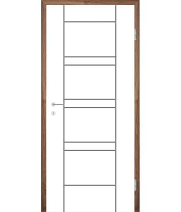 Bild von Weißlackierte Innentür mit Rillenfräsungen COLORline – MODENA R18L