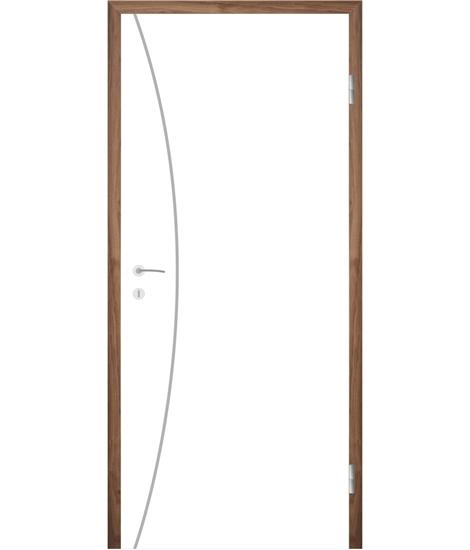 Weißlackierte Innentür mit Rillenfräsungen COLORline – MODENA R21L