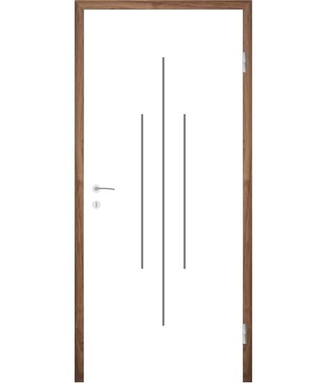 Weißlackierte Innentür mit Rillenfräsungen COLORline – MODENA R22L