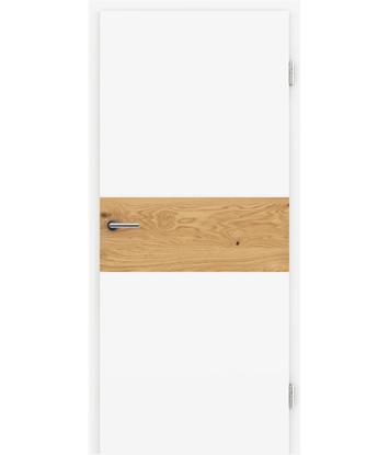 Bild von Weißlackierte Innentür mit Furniereinlage und RillenfräsungBELLAline – I39R72L weißlackiert, Einlage Eiche astig
