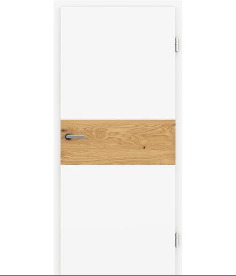 Weißlackierte Innentür mit Furniereinlage und RillenfräsungBELLAline – I39R72L weißlackiert, Einlage Eiche astig