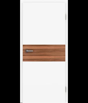 Bild von Weißlackierte Innentür mit Furniereinlage und RillenfräsungBELLAline – I39R72L weißlackiert, Einlage indischer Apfelbaum