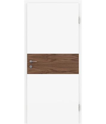 Bild von Weißlackierte Innentür mit Furniereinlage und Rillenfräsung BELLAline – I39R72L weißlackiert, Einlage Nussbaum
