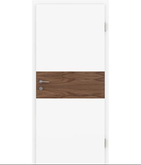 Weißlackierte Innentür mit Furniereinlage und Rillenfräsung BELLAline – I39R72L weißlackiert, Einlage Nussbaum