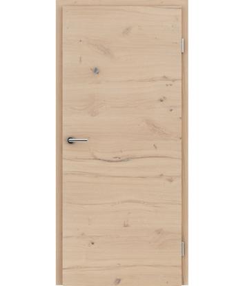 Bild von Furnierte Innentür mit einer Kombination aus längs- und/oder querverlaufenden Strukturen VIVACEline - F4 Eiche astig rissig gebürstet weiß-geölt