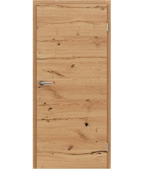 Furnierte Innentür mit einer Kombination aus längs- und/oder querverlaufenden Strukturen VIVACEline - F4 Eiche astig rissig naturlackiert