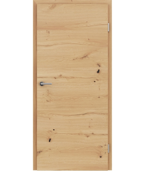 Furnierte Innentür mit einer Kombination aus längs- und/oder querverlaufenden Strukturen VIVACEline - F4 Eiche astig rissig geölt