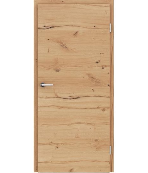 Furnierte Innentür mit einer Kombination aus längs- und/oder querverlaufenden Strukturen VIVACEline - F4 Eiche astig rissig gebürstet naturlackiert